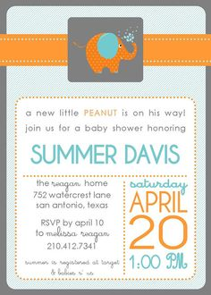 Elephant Baby Shower Invitation  PRINTABLE by elisiacarrcreations, $15.00