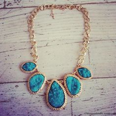 Golden turquoise statement necklace.