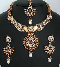 Fashion Indian jewellery polki Necklace set with Imitation Pearls and White polki stones-11PLKJ51  http://www.craftandjewel.com/servlet/the-1715/bridal-pearl-jewelry/Detail