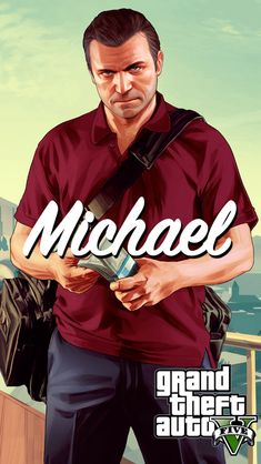 GTA 5 Michael with Money Bag iPhone 5 Wallpaper Gta Online, Grand Theft Auto, Rockstar Games Gta, Gta 5 Mobile, Game Gta V, San Andreas Gta, Gta 5 Xbox, Ps4, Playstation