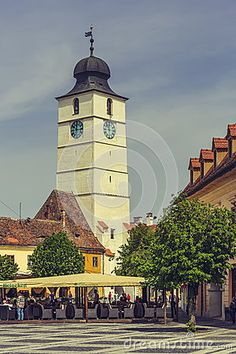 The Council Tower, Sibiu, Romania Editorial Stock Photo - Image of citadel, saxon: 54031353 Sibiu Romania, Home And Away, Vectors, Places To Go, Tower, Sign, Stock Photos, Architecture, Building