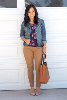 This looks like something I would wear. I never tuck in shirts, and my denim jacket is my over for everything. Of course, I'd ditch the heels though.