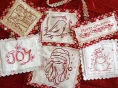 Redwork Patterns Free   Christmas Redwork Ornament Set Hand Embroidery PDF Pattern Instant ...