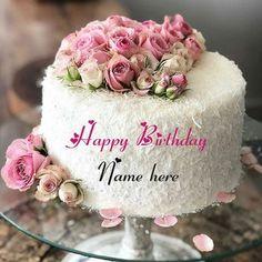 White Forest Flower Decorated Birthday Cake With Name Birthday Cake For Brother, Mother Birthday Cake, Birthday Cake Write Name, Online Birthday Cake, Cartoon Birthday Cake, Colorful Birthday Cake, Friends Birthday Cake, Birthday Cake Writing, Happy Birthday Wishes Cake