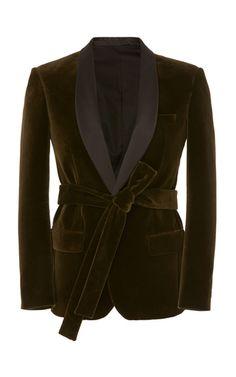 Get inspired and discover Balmain trunkshow! Shop the latest Balmain collection at Moda Operandi. Velvet Blazer, Velvet Jacket, Balmain Collection, Brown Shades, Blazer Outfits, Green Velvet, Boho, Mens Fashion, Tie