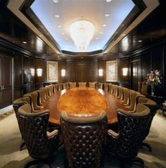 Exceedingly cool table and chairs in a boardroom at the Global Institute for IT Management Home Office, Ceo Office, Luxury Office, Office Meeting, Executive Office, Office Decor, Meeting Rooms, Meeting Table, Business Meeting