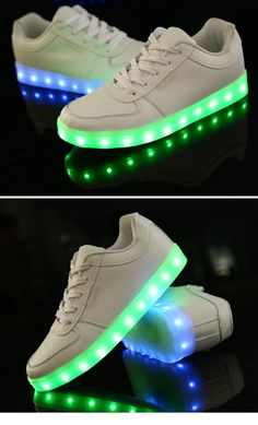 2015 New Shoes Simulation LED Shoes Women's Fashion Sneakers Men Women Leather Led white Sneakers light up sneakers for adults /// $32