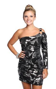 metallic foil one shoulder club dress