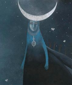 Moon Goddess by Catherine Zarip Illustrator, Sacred Feminine, Moon Goddess, Luna Goddess, Hecate Goddess, Moon Magic, Moon Art, Gods And Goddesses, Moon Child