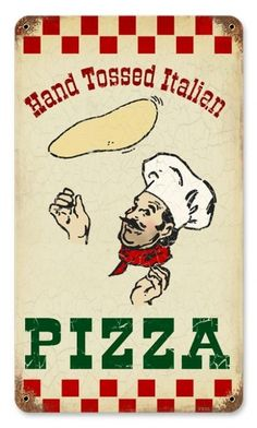 This Pizza Hand Tossed Italian Restaurant Metal Sign is the perfect vintage wall decor for any restaurant, kitchen, or Italian chef! Pizza Sign, Pizza Meme, Pizza Art, Italian Restaurant Logos, Restaurant Poster, Pizza Restaurant, Food Truck, Pizza Truck, Vintage Tin Signs
