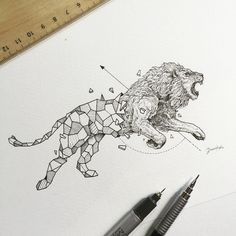 "Képtalálat a következőre: ""geometric animals"" Geometric Lion Tattoo, Geometric Cat, Geometric Drawing, African Tattoo, Lion Drawing, Cubism Art, Fantasy Drawings, Geometry Art, Pictures To Draw"