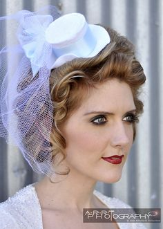 wedding mini top hat with veil by Hair By Steffani, via Flickr