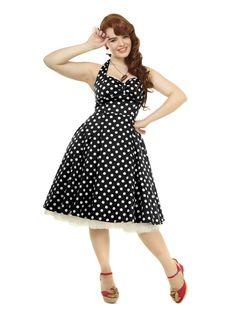 Collectif Joanna doll dress black polka dots uk14