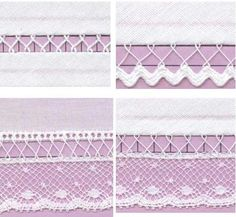 Learn how to use fagoting as an embellishment. 9 different samples! Smocking Arts Guild of America - SAGA Stitches