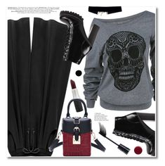 """""""Sculls print"""" by fshionme ❤ liked on Polyvore featuring Jeffrey Campbell, Deborah Lippmann, StreetStyle and Dark"""