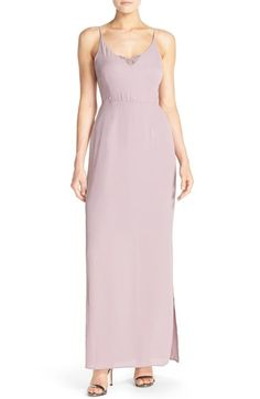Paper Crown by Lauren Conrad 'Michelle' Lace Trim V-Neck Gown available at #Nordstrom