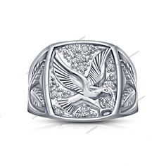 0.30 CT BRILLIANT ROUND CUT DIAMOND 925 SILVER FLYING EAGLE MEN'S FASHION RING #aonebianco #MensEagleRing
