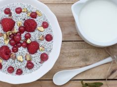 Chia pudding with fruit and pistachio