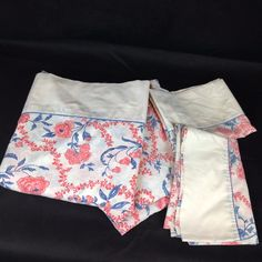 VTG 4pc SET Full Flat Fitted Bed Sheet Pillowcases JC Penney Percale 70s Floral #JCPenney #MidCenturyRetro