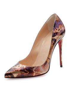 X3CDY Christian Louboutin Pigalle Follies Printed 100mm Red Sole Pump, Brown/Multi