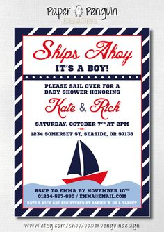 Ships Ahoy, It's a Boy! Nautical Sailing Boat Baby Shower Invitation by PaperPenguinDesign, £5.00