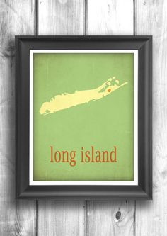 Long Island  New York Map Art  Wall Sign  Giclee Print  by Mapity