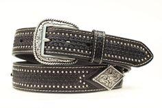 Men's Belt | Nocona Black Leather with Silver Concho Leather Belts, Black Leather, Men's Belts, Casual, Silver, Accessories, Fashion, Moda, Fashion Styles