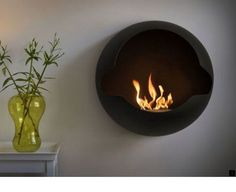 Small Wall Mount Electric Fireplace for 2020 Wall Mounted Fireplace, Wall Mount Electric Fireplace, Wall Mounted Tv, Bedroom Fireplace, Modern Fireplace, Fireplace Design, Bioethanol Fireplace, Small Fireplace, Cozy Fireplace