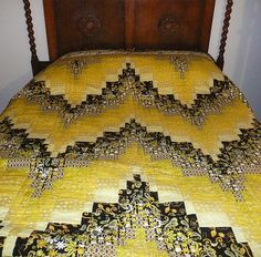 Yellow, Black and White bargello quilt