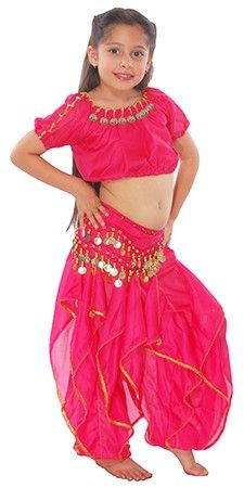6e3144b15 Little Girl's Ruffle Belly Dance Costume - DARK PINK Bollywood Costume, Aladdin  Costume, Belly