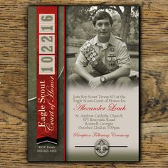 Eagle Scout Court of Honor Invitation: Leather with Unit Numbers for Date – Digital File Boy Scouts Merit Badges, Boy Scout Troop, Scout Mom, Girl Scout Swap, Girl Scout Leader, Brownie Girl Scouts, Cub Scouts, Eagle Scout Project Ideas, Eagle Scout Ceremony
