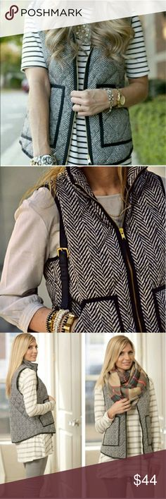 ✨Just In✨Herringbone Quilted Vest Just like J. Crews Tweed Herringbone puffer vest. This is the hottest item for the fall and winter season this year! It's selling out everywhere! This vest features quilted stich, black and white herringbone print, 2 black outlined pockets and gold zipper down front. 100%polyester. Jackets & Coats Vests