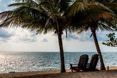 Saving you a seat!  Hamanasi's private beach overlooking the caribbean sea.