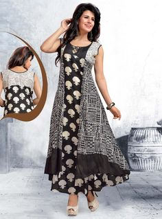 Buy Black Chanderi Readymade Kurti 118701 online at lowest price from our mens indo western collection at m.indianclothstore.c. Western Dresses, Indian Dresses, Indian Outfits, Kurti Neck Designs, Blouse Designs, Simple Dresses, Casual Dresses, Patchwork Dress, Lookbook