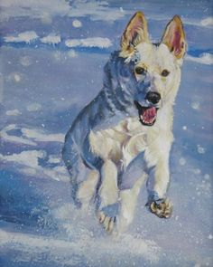 Can't wait to move and get my sweet white German shepherd.   Painting from TheDogLover on Etsy.