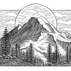 Mount Baker Archival Print Mountain Art Giclee Print – Mount Baker, Washington, Pacific Northwest – Black… This image has get. Art And Illustration, Mountain Illustration, Mountain Drawing, Mountain Art, Mountain Sketch, Mountain Texture, Kunst Inspo, Art Inspo, Drawing Sketches