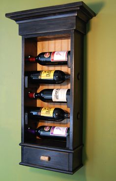 Hanging wine rack with drawer holds 5 bottles of wine with drawer