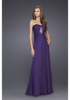 Ruched A-Line Gown with Keyhole Bodice Lucky Evening Dress