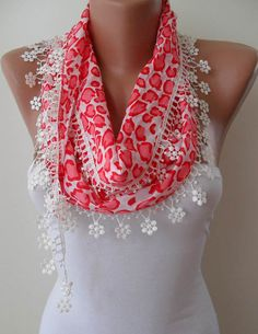 Spring Scarf with White Flowered Trim Edge by SwedishShop on Etsy, $14.90. I want it so bad