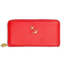 red leather zip around anchor wallet