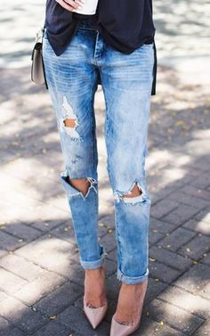 Distressed Boyfriend Jeans | Fall fashion | Ripped denim and heels