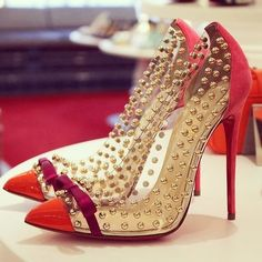 Christian Louboutin Studded Pumps #CL #Louboutin #Shoes #Heels