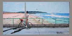 This is an original painting by my homie Brian Sisson who does amazing candid original art of familiar Manhattan + Hermosa spots. He shot this candid picture on the Manhattan Beach Pier, only to discover years later that it was actually another MB home boy Charlie Scholz with whom he had attended grammar school with  way back when! Never discovered who the random guy on the bike was til just recently!