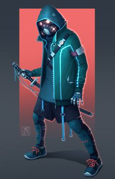 Fantasy Character Design, Character Concept, Character Inspiration, Character Art, Urban Samurai, Samurai Art, Black Anime Characters, Sci Fi Characters, Cyberpunk Fashion