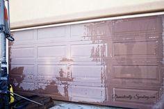 Garage Door Update with Stain! - DIY Garage Door Makeover with Stain – Domestically Speaking - Garage Door Update, Faux Wood Garage Door, Metal Garage Doors, Garage Door Colors, Garage Door Paint, Carriage Garage Doors, Modern Garage Doors, Garage Door Styles, Glass Garage Door