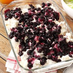 Blueberry Angel Dessert Recipe -Make the most of angel food cake, pie filling and whipped topping by creating this light impressive dessert that doesn't keep you in the kitchen for hours. It's the perfect way to end a summer meal. —Carol Johnson, Tyler, Texas