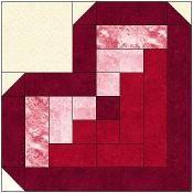 Log Cabin Heart Quilt Block Pattern - via @Craftsy