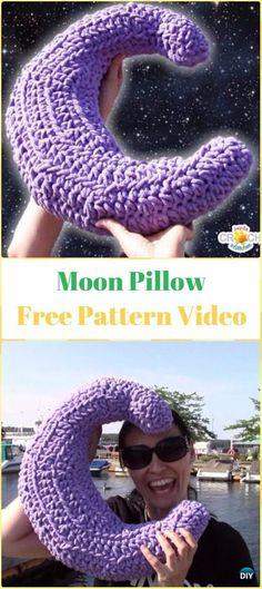 Crochet Big Fluffy Crescent Moon PillowFree Pattern Video - Crochet Travel Neck Pillow Patterns Tutorials
