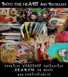 www.creativefinds.ca  Art Retreat Creative Workshop, Heart Art, Comic Books, Events, Baseball Cards, Comics, Artist, Comic Book, Comic Book