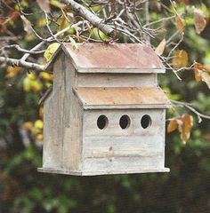 Rustic Barn Birdhouse  with rusted tin roof.